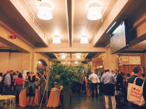 Guests gather in the Ferry Building Marketplace before sitting down to dinner in the Grand Hall.