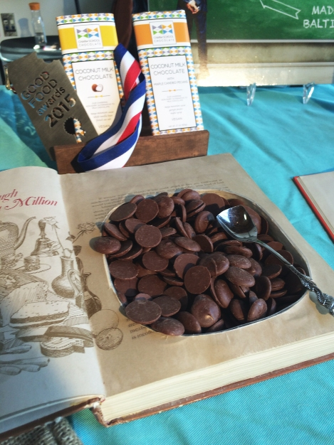 Charm School Chocolate's creative display of its award-winning coconut milk chocolate.