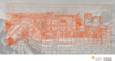 A map of the Panama-Pacific International Exposition overlaid on the Marina district of San Francisco.