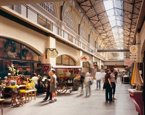 The Ferry Building marketplace, organized along the central Nave, brings together a range of specialty food purveyors under one roof.