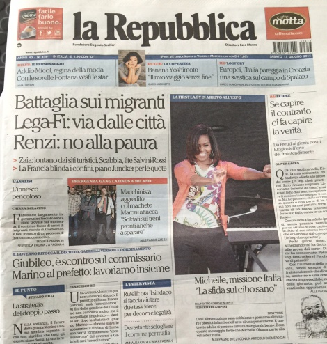 The front page of la Repubblica, with a caption that reads