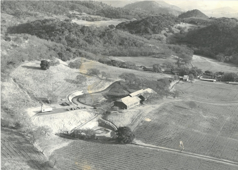 An aerial view of the original winery building at Joseph Phelps Vineyards.